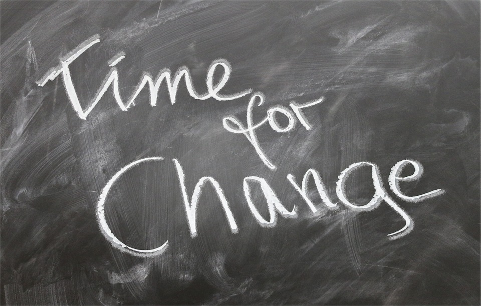 Time for Change - Text auf Tafel