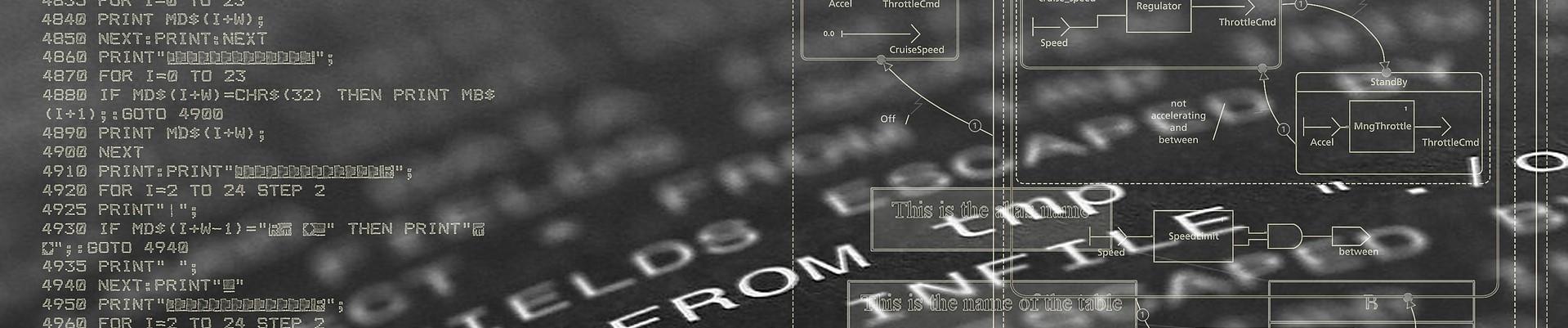 Programmierzeilen auf Bildschirm
