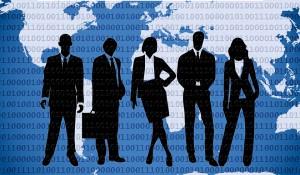 Binäre Zahlen und Gruppe von Managern vor Welt